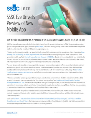 SS&C Eze - SS&C Eze Unveils Preview of New Mobile App
