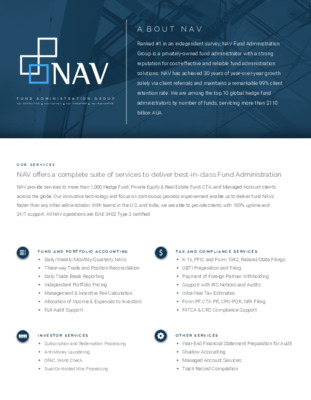 NAV Fund Administration Group - Brochure