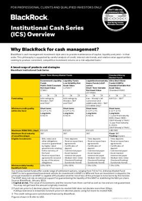 BlackRock - Institutional Cash Series (ICS) Overview
