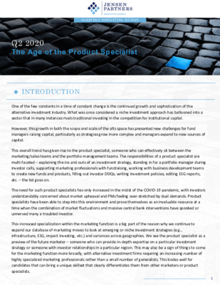 Jensen Partners Newsletter Q2 2020: The Age of the Product Specialist