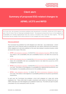 Simmons and Simmons white paper: Summary of proposed ESG-related changed to AIFMD, UCITS and MiFID