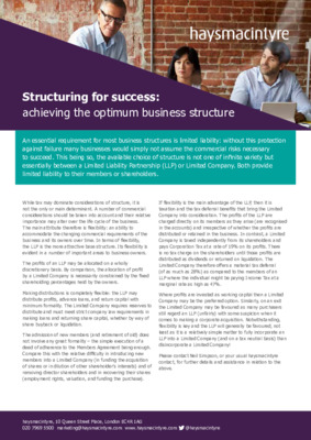 haysmacintyre factsheet: Structuring for success