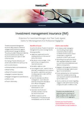 Travelers factsheet: Investment management insurance