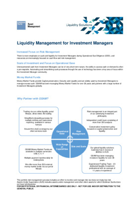Goldman Sachs: Liquidity Management for Investment Managers