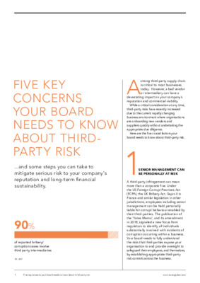 5 Key Third Party Risk Concerns for your board