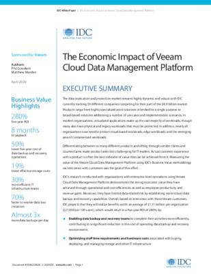 IDC White Paper: The Economic Impact of Veeam Cloud Data Management Platform