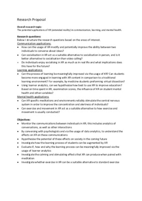Extended Reality Initial Research Proposal