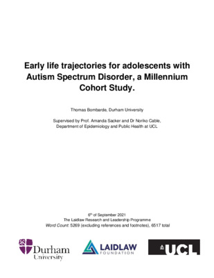Report: Early life trajectories for adolescents with Autism Spectrum Disorder,a Millennium Cohort Study.