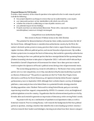 Summer 1 Research Proposal: Legitimacy of Russian Opposition Parties