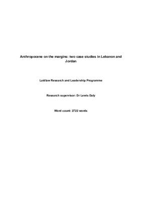 Anthropocene on the Margins: two cases studies from Lebanon and Jordan