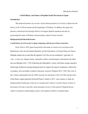 Research Proposal: A Brief History, and the Future of, Populist Social Movements in Spain