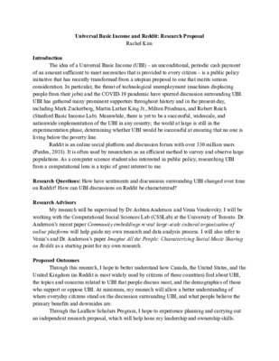 Universal Basic Income and Reddit - Research Proposal