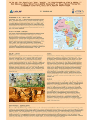 Research Poster: Sub Saharan Africa's response to climate change, an analysis of juxtaposing laws in three selected countries