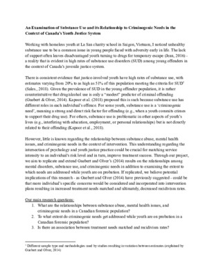 Substance Use in the context of Canada's Youth Justice System Research Proposal (Nhu Huynh)