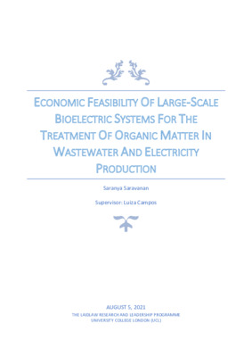 Economic feasibility of large-scale bioelectric systems for the treatment of organic matter in wastewater and electricity production