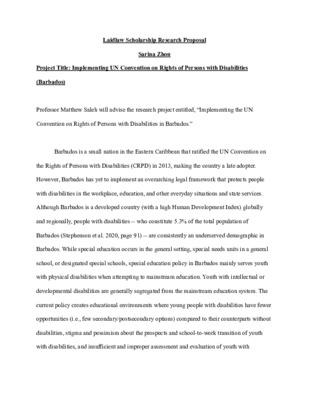 Laidlaw Scholars Research Proposal_Sarina Zhou
