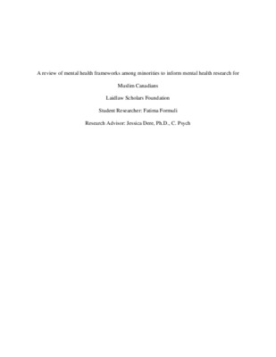 A review of mental health frameworks among minorities to inform mental health research for Muslim Canadians (Research Proposal)