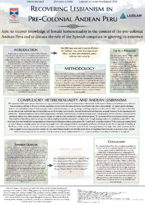 Recovering Lesbianism in Pre-Colonial Andean Peru