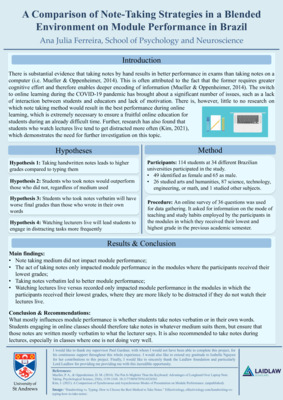 A comparison of note-taking strategies in a blended environment on module performance in Brazil
