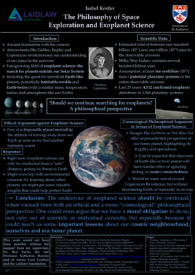 Research Poster: The Philosophy of Space Exploration and Exoplanet Science