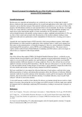 Research proposal - ENZ metasurfaces