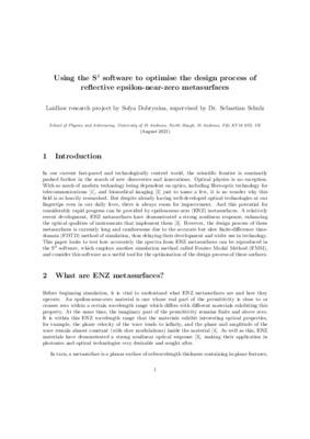 Using the S4 software to optimise the design process of reflective epsilon-near-zero metasurfaces