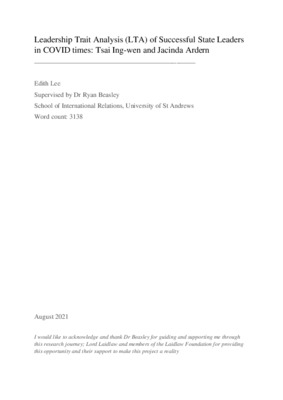 Research Essay: Leadership Trait Analysis (LTA) of Successful State Leaders in COVID Times: Tsai Ing-wen and Jacinda Ardern