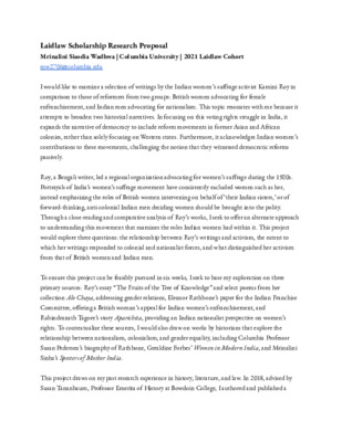 Laidlaw Scholarship Research Proposal