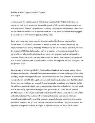 Laidlaw Project Proposal
