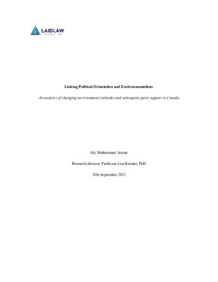 Linking Political Orientation and Environmentalism: An analysis of changing environmental attitudes and subsequent party support in Canada
