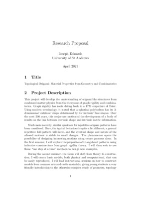 Research Proposal: Topological Origami: Material Properties from Geometry and Combinatorics