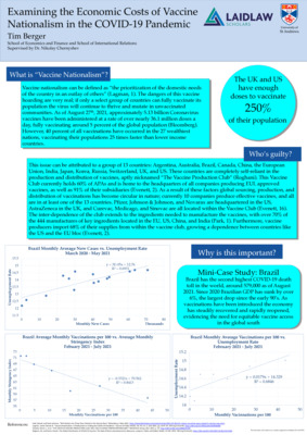 Laidlaw Poster- Examining the Economic Costs of Vaccine Nationalism