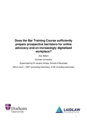 Does the Bar Training course sufficiently prepare prospective barristers for online advocacy and an increasingly digitalised workplace?