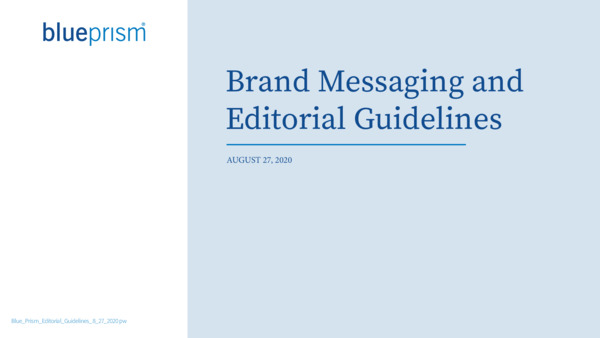 Blue Prism Editorial Guidelines