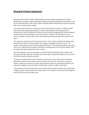 Research Project Statement