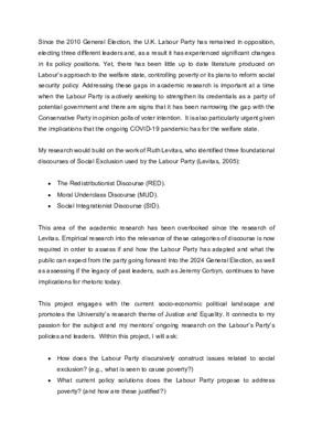 Research Proposal: 2021 Cohort