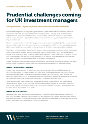 IFPR New Challenges Coming for UK Investment Managers