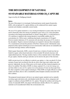 Research Proposal - 'The Development of Natural Sustainable Materials for CO2 Capture'