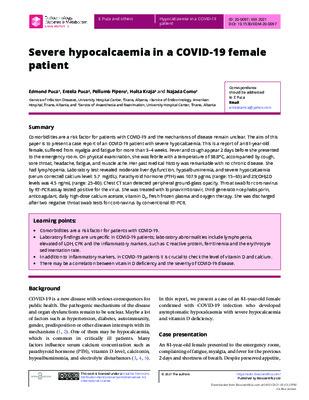 Severe hypocalcaemia in a COVID-19 female patient