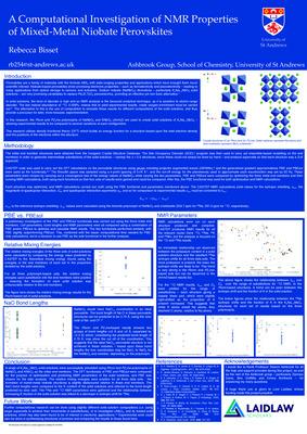 A Computational Investigation of NMR Properties of Mixed-Metal Niobate Perovskites