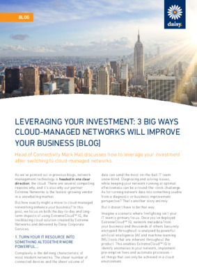 How cloud managed networks will improve your business