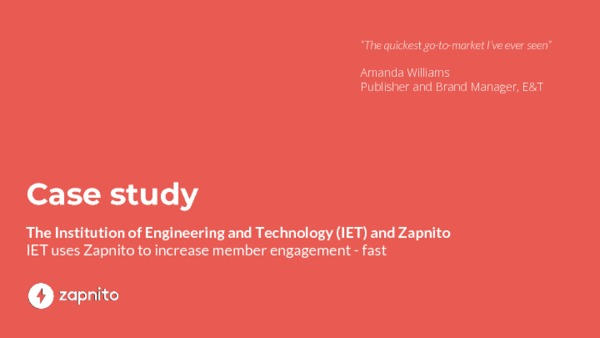 IET uses Zapnito to increase member engagement - fast