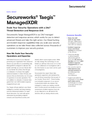 Data Sheet - Secureworks Taegis ManagedXDR