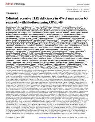 X-linked recessive TLR7 deficiency in ~1% of men under 60 years old with life-threatening COVID-19