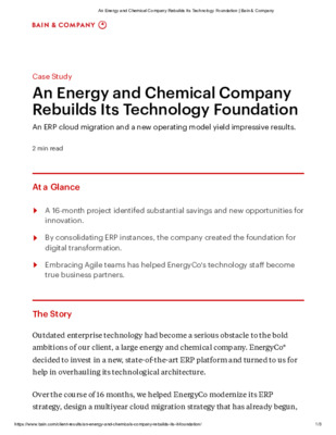 Case Study: An Energy and Chemical Company Rebuilds Its Technology Foundation
