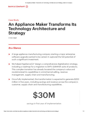 Case Study: An Appliance Maker Transforms its Technology Architecture and Strategy