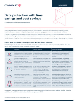 Data protection with time savings and cost savings