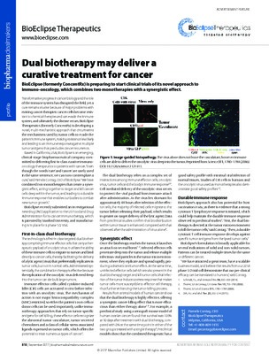 Dual biotherapy may deliver a curative treatment for cancer