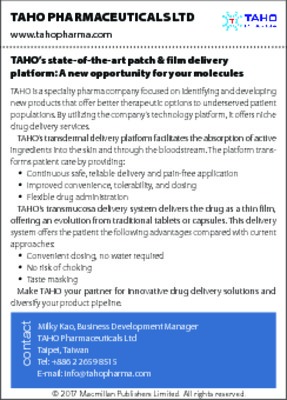 TAHO's state-of-the-art patch & film delivery platform: A new opportunity for your molecules