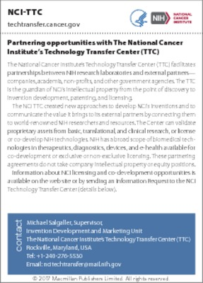 Partnering opportunities with The National Cancer Institute's Technology Transfer Center (TTC)
